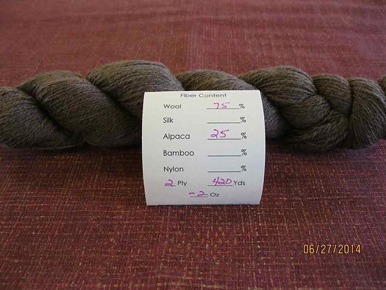 2 ply CVM Romeldale/Alpaca (75/25) 420 yards/2oz moorit