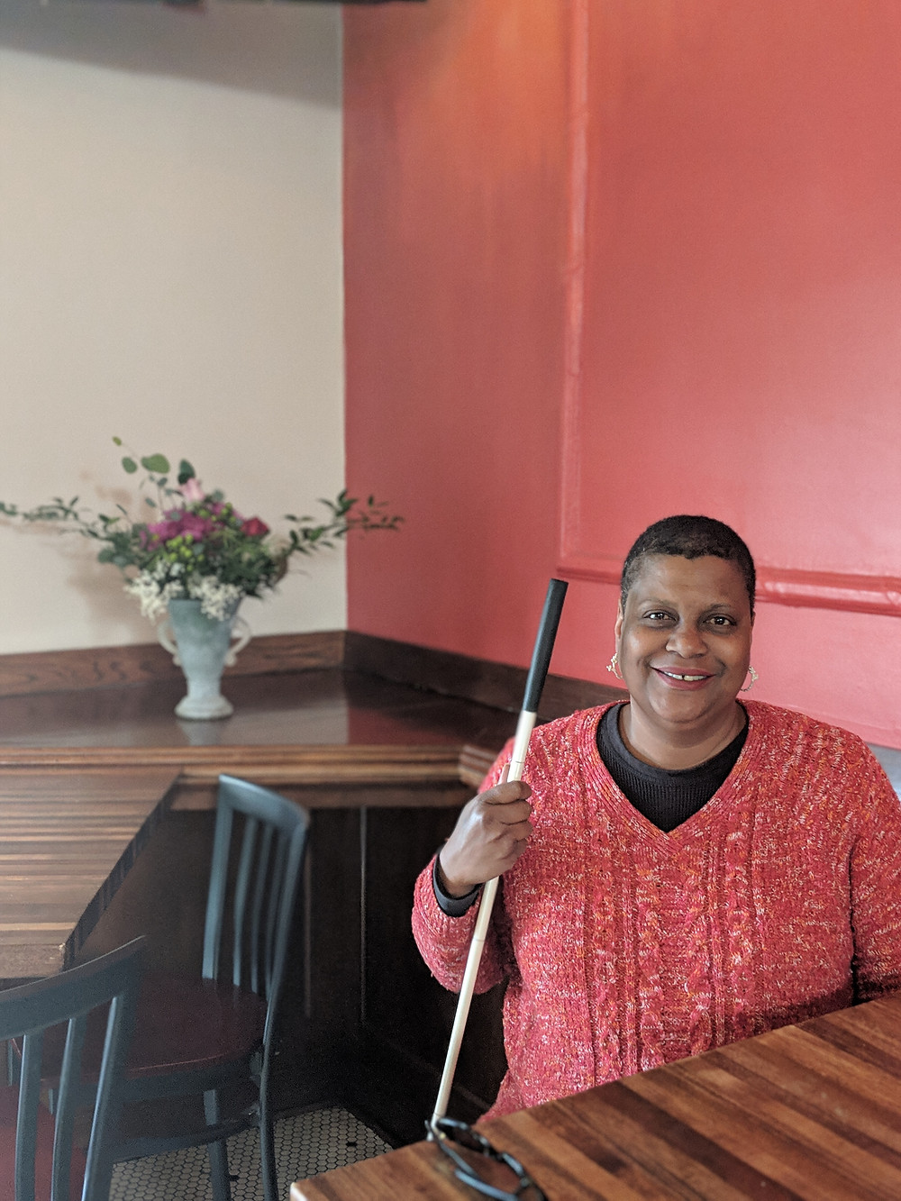 This is a picture of our Transitional Housing Case Manager Renee at Merchant's Pub which used to be Tellers.