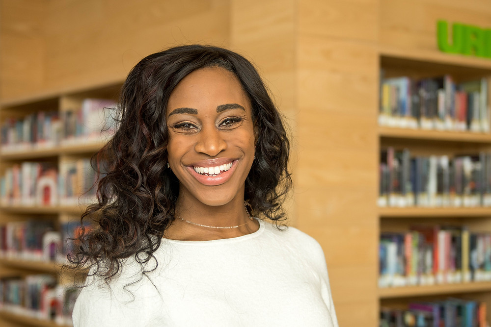 A picture of our director of community services Taylor Jonees taken at the Laawrence Public Library