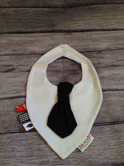 White dribble bib with Black tie