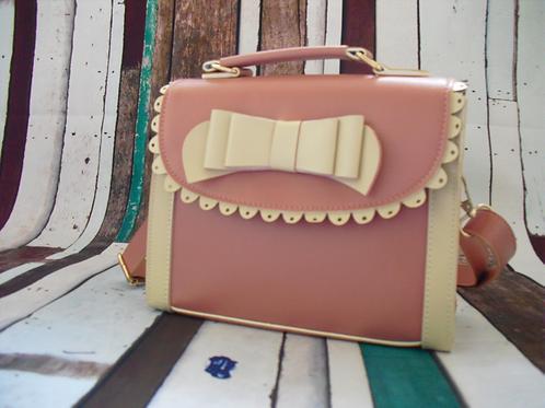 Pastel Pink & Cream Bow Ladies handbag