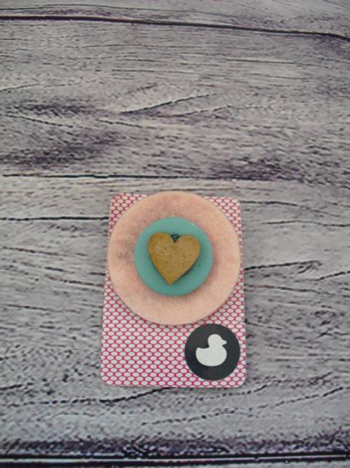 Handmade Pink Heart Brooch