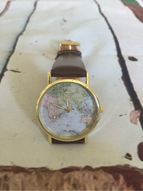 Mens Atlas Watch with brown faux leather strap