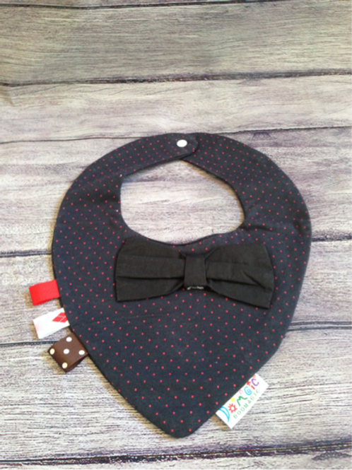 Blue & red polka dot dribble bib with black bow