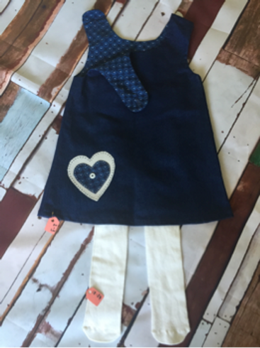 Blue pinafore dress with cream heart & leggings
