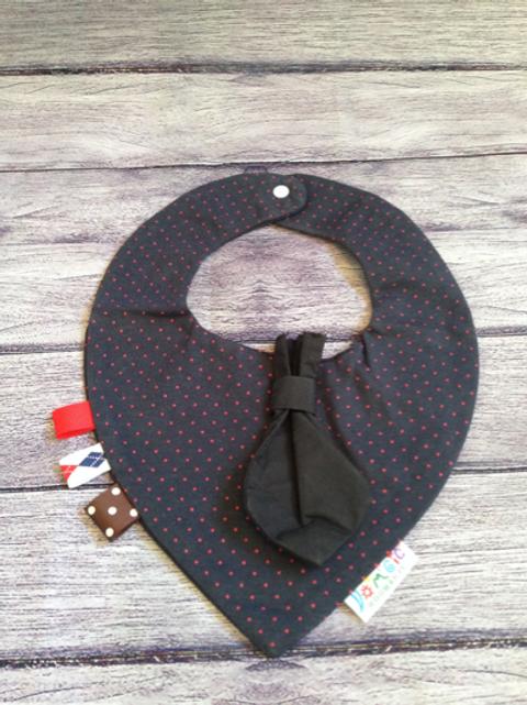 Blue & Red polka dot dribble bib with black tie