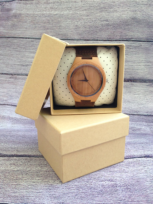 Genuine Leather & Bamboo Mens' Watch