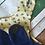 Thumbnail: Blue girls pinafore dress with cream heart detail