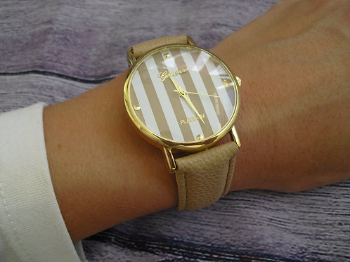 Beige watch with striped face