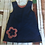 Thumbnail: Blue girls pinafore dress with red flower detail