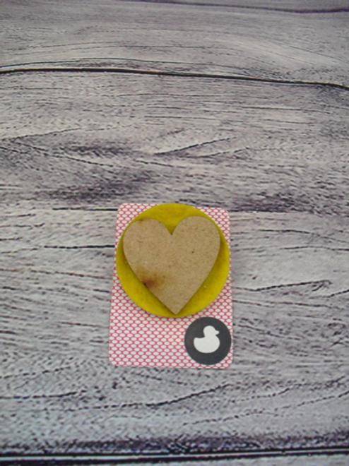 Handmade Yellow Heart Brooch
