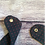 Thumbnail: Blue & Red polka dot dribble bib with black tie