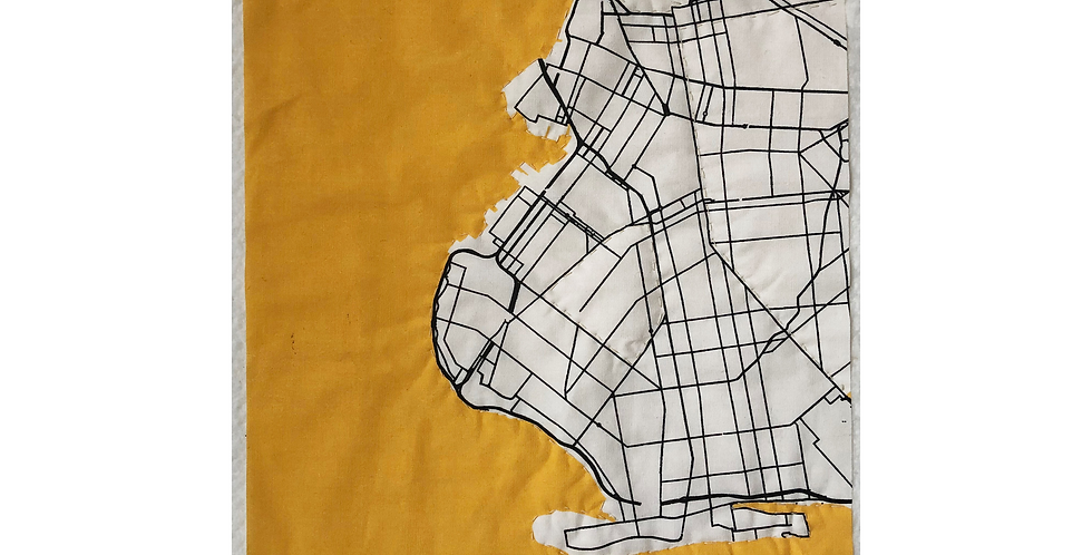 QUILTED BKLYN MAP - GOLD