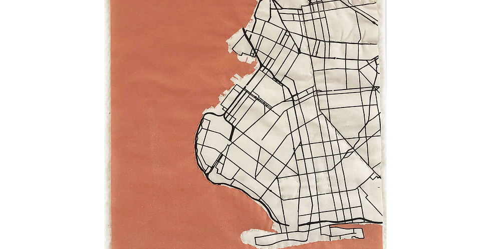 QUILTED BKLYN MAP - CORAL