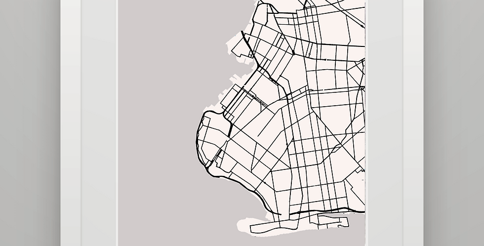 QUILTED BKLYN MAP -GRAY