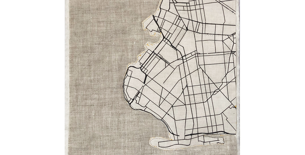 QUILTED BKLYN MAP - LINEN