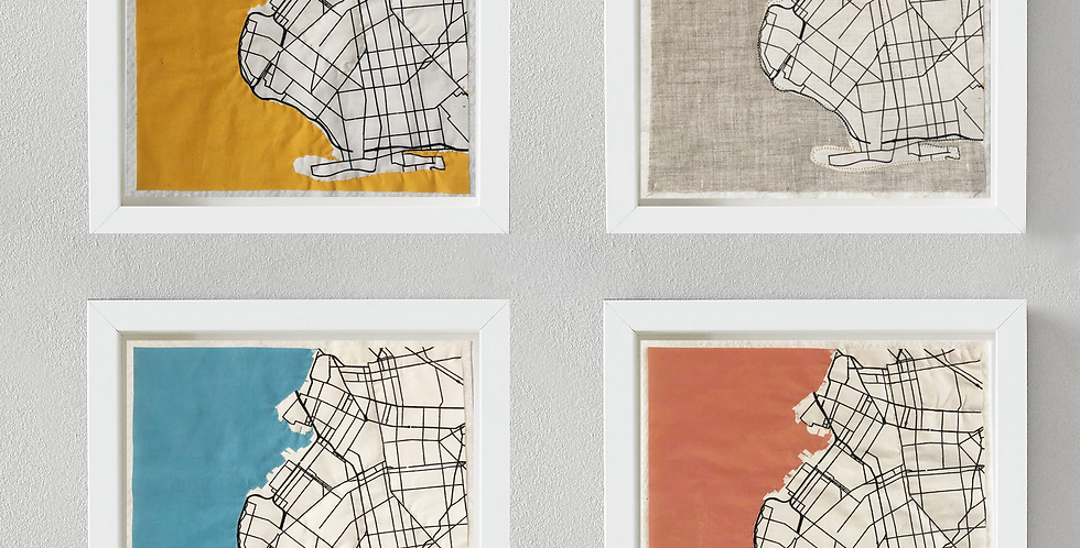 QUILTED BKLYN MAPS - SET OF 4