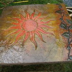 Sun and grave vine stamp with colors