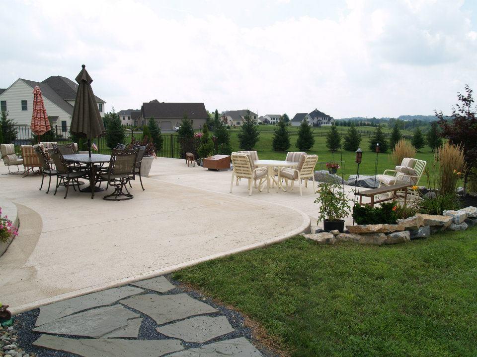 White concrete patio