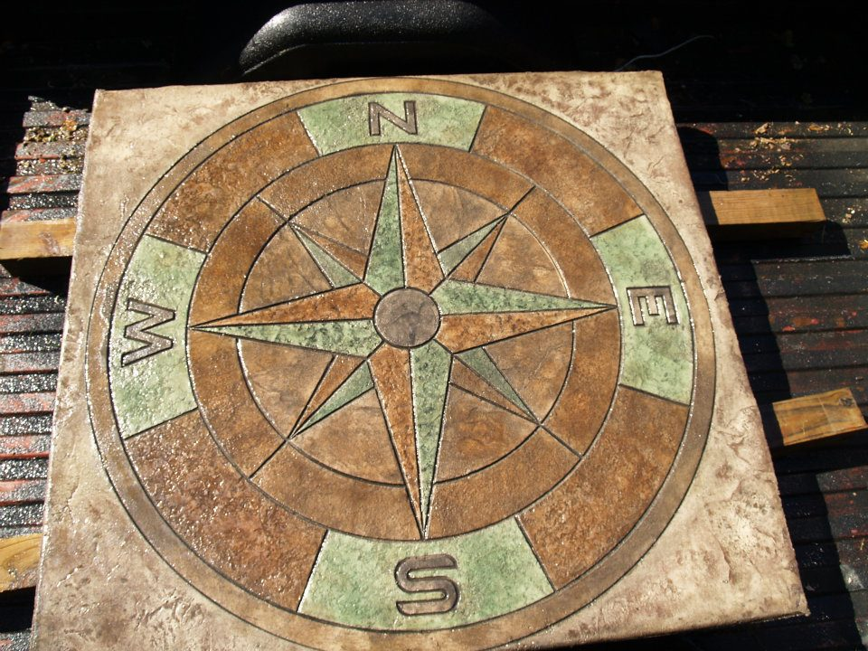 Compass stamp with colors