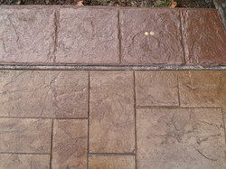 Ashlar slate with 12 inch brick border