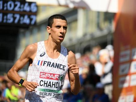 Hassan Chahdi aan de start van de 20 km door Brussel
