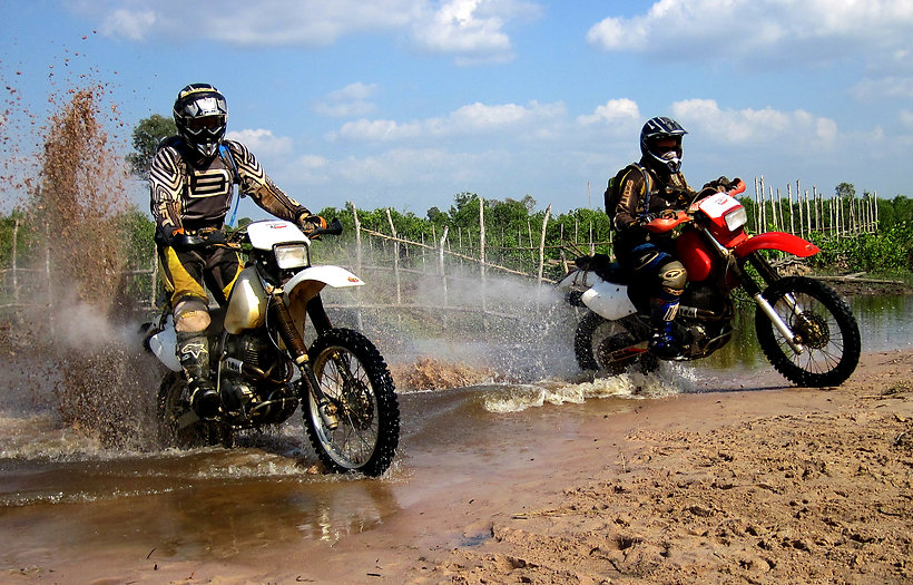 Dirt Bike River Crossing in Kampot Province