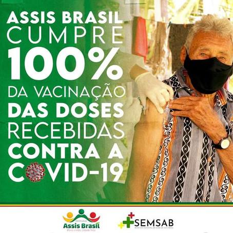 Assis Brasil cumpre 100% da vacinação das doses recebidas contra a covid-19