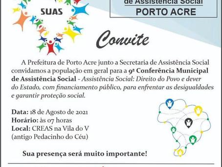 Convite: Participe da 9ª Conferência de Assistência Social no dia 18/08 as 7h no Creas Vila do V