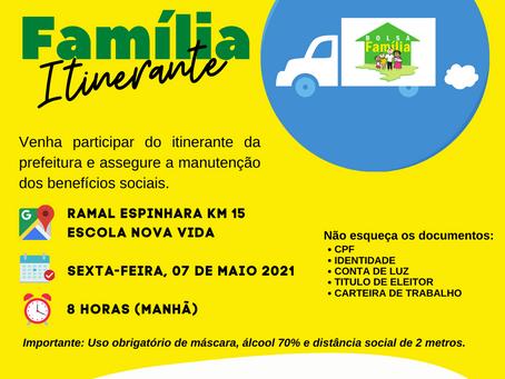 Bolsa Família Itinerante: Assistência Social ofertará serviços a comunidade do ramal espinhara KM 15
