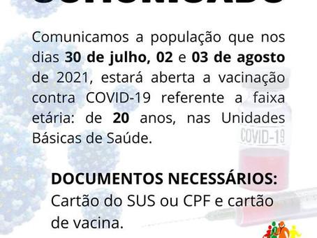 Comunicado: vacinação para faixa etária de 20 anos ou mais