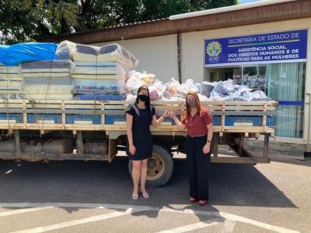 Secretária de Assistência Social busca donativos para atingidos pela alagação em Porto Acre