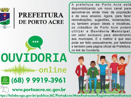 Prefeitura de Porto Acre está disponibilizando um novo canal de ouvidoria online