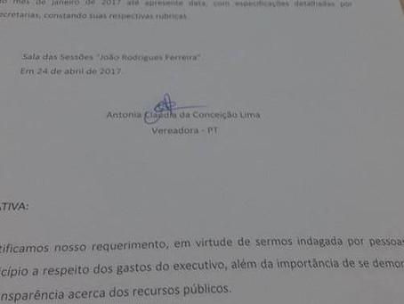 Vereadores da base aliada rejeitam pedido de informação da vereadora Cláudia Lima sobre obras