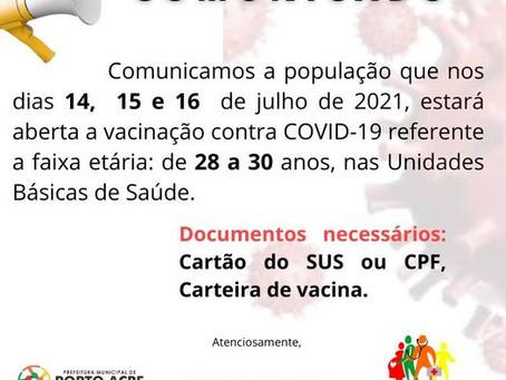 Vacinação para faixa etária de 28 a 30 anos