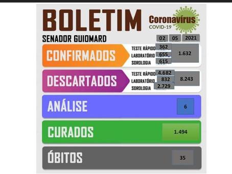Boletim Covid-19, atualizado em 02 de maio de 2021