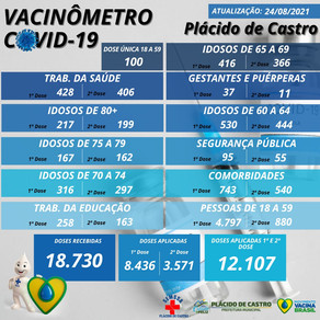 Vacinômetro, atualizado em 24 de agosto de 2021