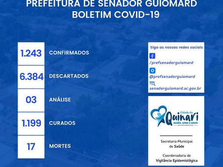 Boletim covid-19, atualizado em 16 de janeiro de 2021