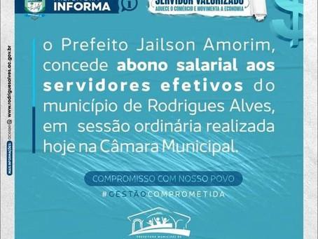 Abono salarial concedido pelo prefeito Jailson Amorim é aprovado na Câmara por unanimidade