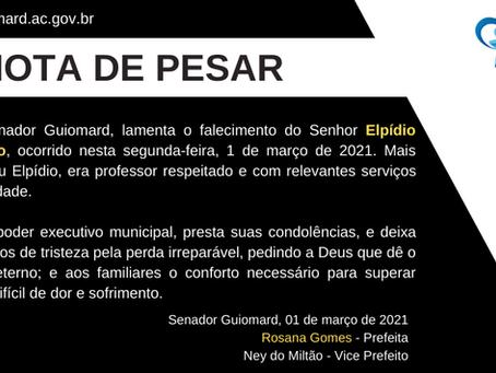 Nota de pesar: Elpídio Rodrigues Carneiro