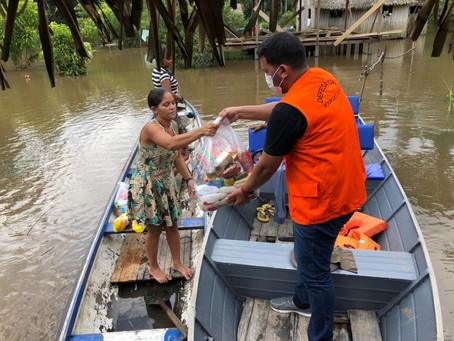 Prefeitura de Rodrigues Alves leva ajuda as comunidades atingidas pela cheia do Rio Paraná dos moura