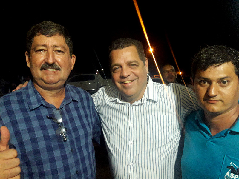 Esquerda para direita: Prefeito Ederaldo Caetano, Vice-Governador Major Rocha, Presidente da ASPMA Cleuson Oliveira