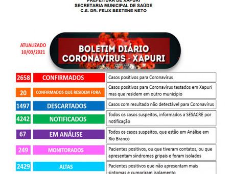 Boletim Covid-19, atualizado em 10 de março de 2021