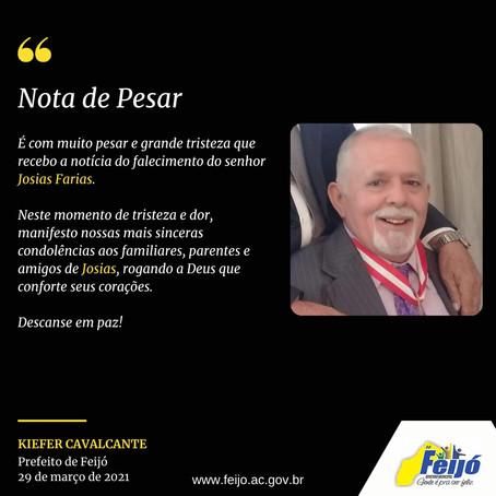 Nota de pesar: falecimento de Josias Farias