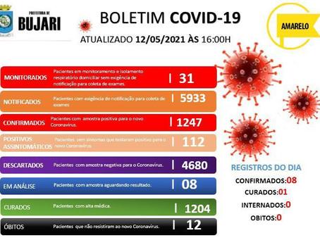 Covid-19, atualizado em 12 de maio de 2021