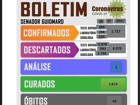 Boletim Covid-19, atualizado em 07 de julho de 2021