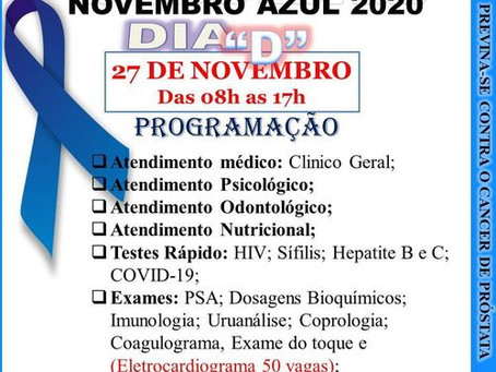"""Atenção: Programação Novembro Azul - Dia """"D"""" em 27/11/2020"""