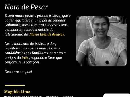 Nota de Pesar: Maria Inêz de Alencar