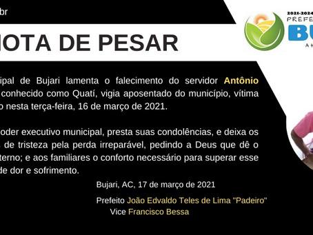 Nota de Pesar: Antônio Gonzaga de Lima