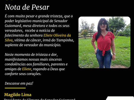 Nota de pesar: falecimento de Eliete Oliveira da Silva, irmã do suplente Tampinha